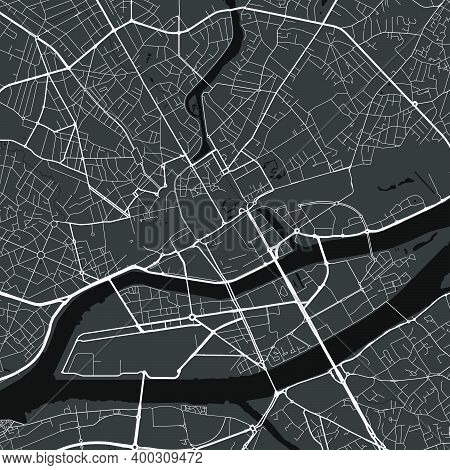 Urban City Map Of Nantes. Vector Illustration, Nantes Map Grayscale Art Poster. Street Map Image Wit