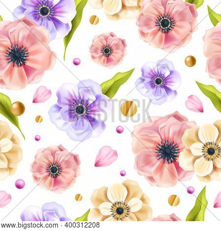 Floral Vector Spring Seamless Pattern With Anemone Flowers, Green Leaves, Golden Dots On White Backg
