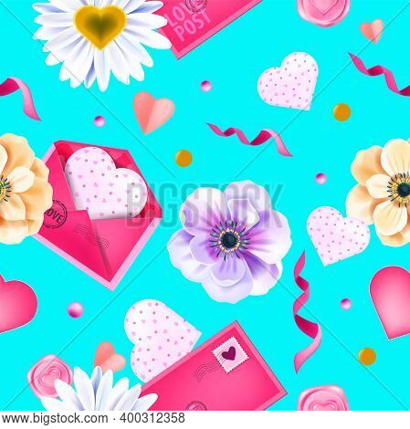 Love Spring Valentine's Day Seamless Pattern, Background With Anemone Flowers, Envelopes, Hearts, Co