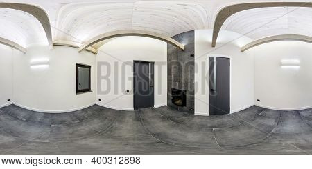 Full Seamless Hdri Panorama 360 Angle In White Empty Room With Small Window And Wooden Rafter Ceilin