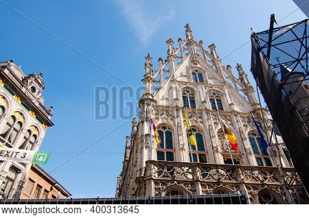 Mechelen, Belgium, August 2019. The Town Hall Overlooks The Large Square, The Grote Markt. It Stands