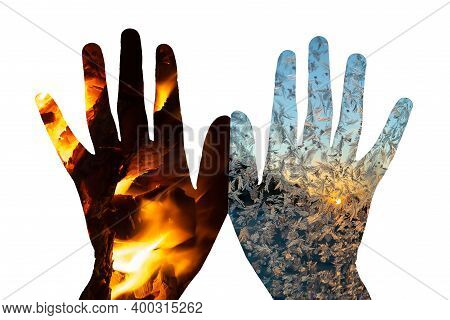 The Concept Of Fire And Ice On The Palms.