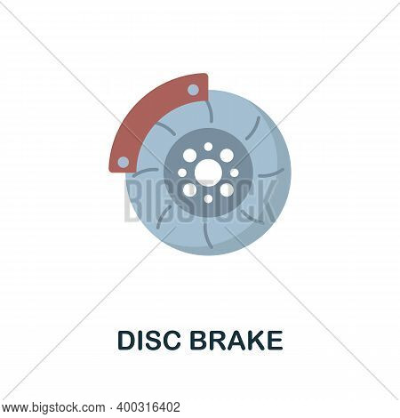 Disc Brake Flat Icon. Color Simple Element From Car Servise Collection. Creative Disc Brake Icon For