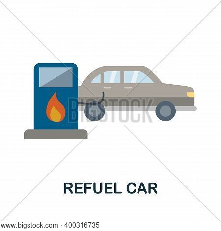 Refuel Car Flat Icon. Color Simple Element From Car Servise Collection. Creative Refuel Car Icon For