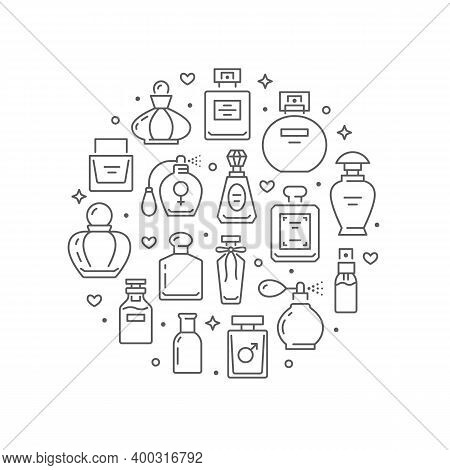 Perfume Bottles Circle Poster With Thin Line Icons. Vector Illustration Included Icon As Glass Spray