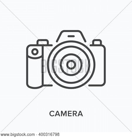 Camera Flat Line Icon. Vector Outline Illustration Of Photo Equipment. Photocamera Black Thin Linear