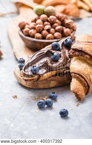 Continental Breakfast With Croissant, Hazelnut Chocolate Spread And Coffee.chocolate Croissant. Croi