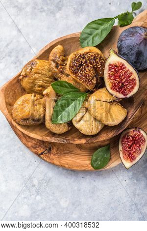Organic Dried Figs Close Up, Vegetarian Food Background. Dried, Dry Sweet Figs - Delicious Organic F