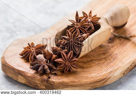 Star Anise Or Chinese Badiane Spice Or Illicium Verum. Star Anise
