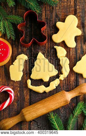 Traditions Of Celebrating Christmas And New Year. Cooking Holiday Cookies, Family Cooking. Cut Raw G