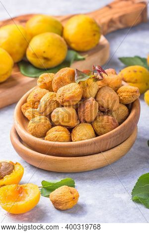 A Bowl With Healthy Dried Fruits. Healthy Tasty Food, Snack, Arab  Eastern Sweets.an Apricot Kernel