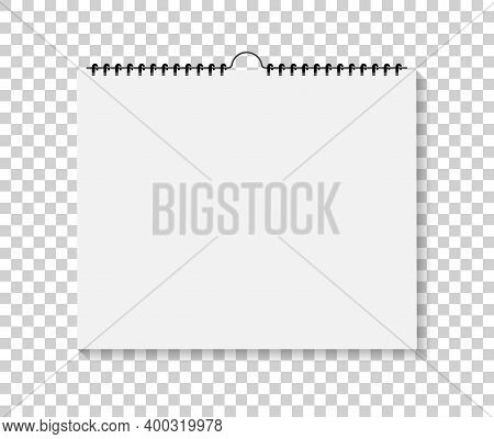 Wall Calendar. Notepad With Spiral Bound. Mockup Of Sketchbook Isolated On Transparent Background. N