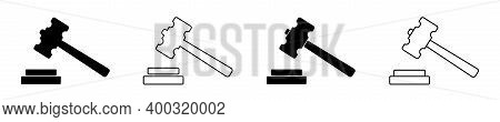 Icon Of Gavel. Hammer For Judge. Logo Of Law Or Auction. Mallet Of Judgement On Court. Black Symbol