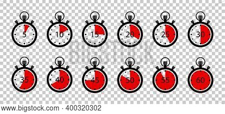 Clock Timer With Stopwatch. Icon Of Countdown For Speed, Cooking And Sport. Watch Time On Round Cloc
