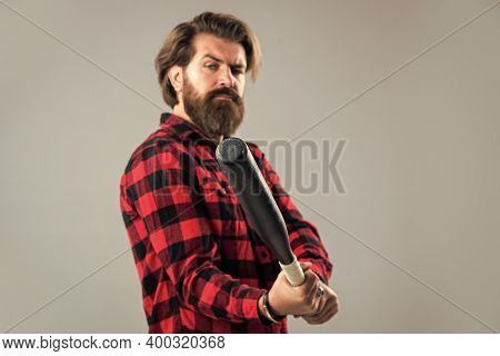 Feel The Confidence. Emotion Control Concept. Brutal Bearded Man Using Baseball Bat For Fighting. Ma