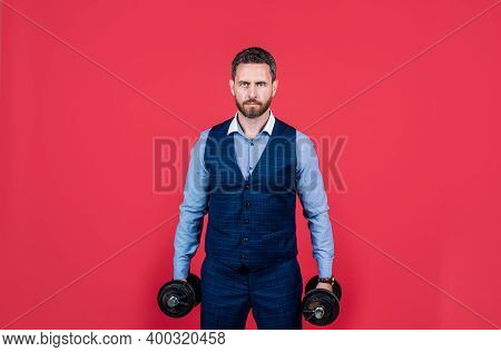Hardworking Man In Formalwear Hold Heavy Dumbbells Career Building, Business