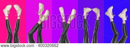 Collage With Female Shapely Legs In Black Leggings And Boots Sneakers.