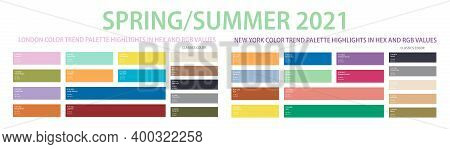 Color Trend 2021 Spring, Summer Palette In Hex And Rgb Values. Set Of Year Trend Color Matching Fash