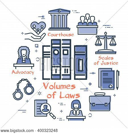 Vector Line Banner Of Legal Proceedings - Volumes Of Law Books Icon
