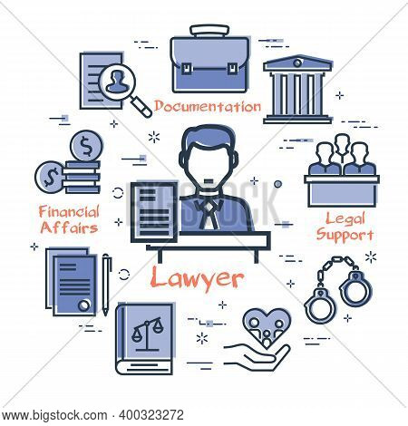 Vector Line Banner Of Legal Proceedings - Lawyer Man Icon