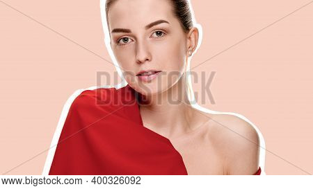 Pretty Young Sensual Woman Posing With Red Shawl On A Flesh, Skin Colored Background With A White Ou