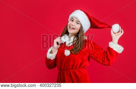 Happy New Year. Merry Christmas. Cheerful Teen Girl Celebrate Xmas Party. Kid Wear Red Santa Claus H