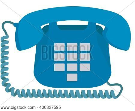 Old Home Push-button Telephone. Outdated Equipment In Cartoon Style.