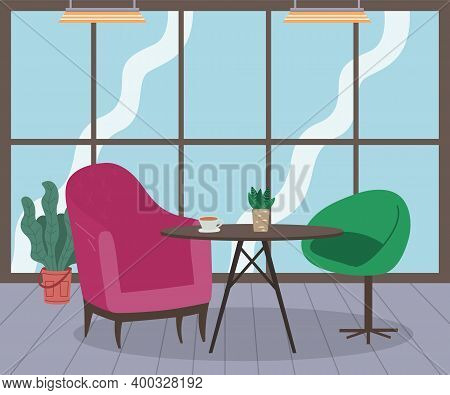 Modern Loft Interior Of Cafe Or Living Room With Round Coffee Table, Two Armchairs, Flower In Pot, P