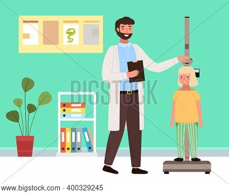 Doctor Uses A Stadiometer To Determine The Height Of The Child. Patient On Consultation In The Thera