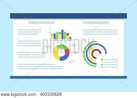 Whiteboard Vector, Object Used In Presentation And Business Meeting, Summarized Data, Diagram And An