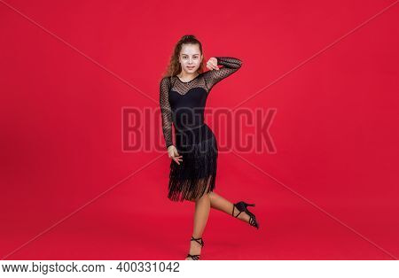Teen Girl Ballroom Dancer. Kid Dancing In Black Dress. Child In Dance Pose. Professional Slowfox And