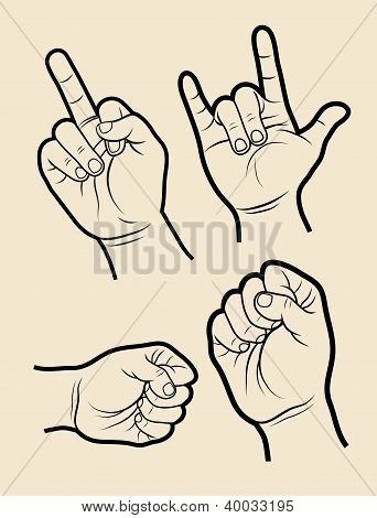 Hand signs (rock, power)