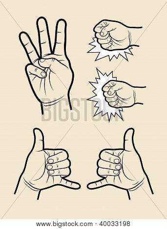 Hand signs (three, call, hit)