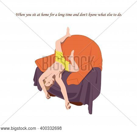 The Boy Is Lying On The Chair Upside Down. He Is Idle And Does Not Know What To Do With Himself. He