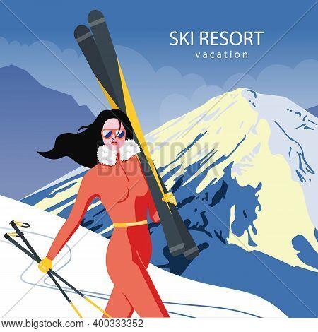 Ski Resort Poster In Vintage Retro Style. Winter Season Vacation In Mountains Concept Vector Illustr