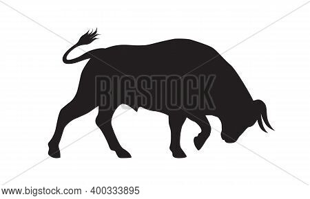 Bull Graphic Icon. Bullock Black Sign Isolated On White Background. Ox Symbol. Vector Illustration