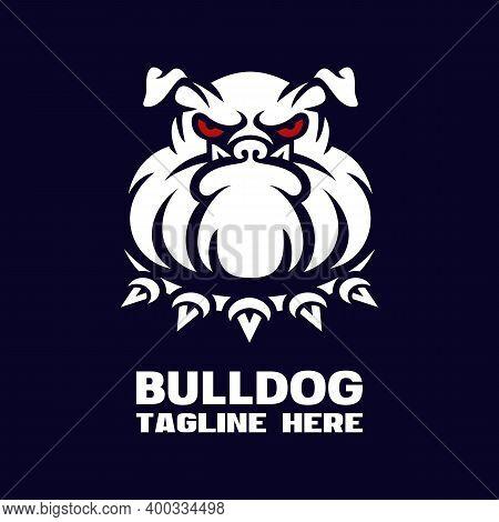 Modern Dog Bulldog Mascot Logo. Vector Illustration.