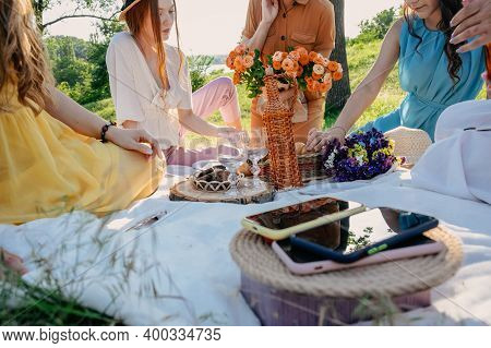 Digital Detox, Time For Disconnecting From Electronic Devices. Mobile Phones On Basket On Picnic Bac