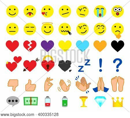 New Yellow Vector Cartoon Emoticons Comment Icons. Chat Comment Icon Reactions Template: Smile, Sad,