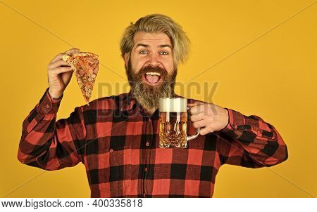 Love At First Slice. Fresh And Hot. In Mood For Italian Food. Man Bearded Hipster Hold Pizza. Pizza