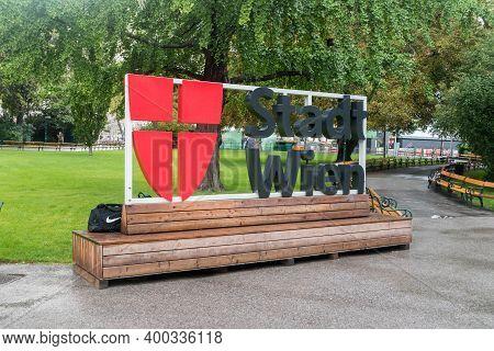 Vienna, Austria - August 30, 2020: Stadt Wien Bench At Rathauspark.