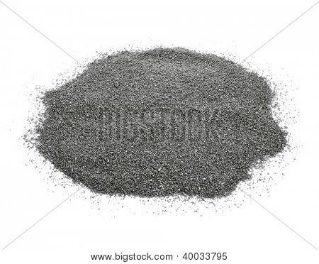 closeup of a pile of gray gravel on a white background