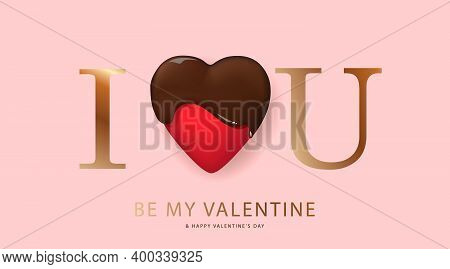 Happy Valentines Day. I Love You. Holiday Gift Card. Vector Illustration