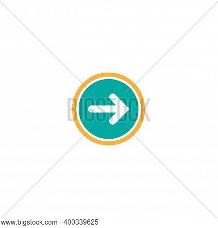 White Right Thin Arrow In Blue Circle Icon. Isolated On White. Continue Icon.