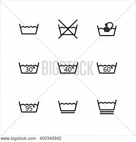 Laundry Care Icon. Machine And Hand Wash Suggestion Symbol, Fabric Cotton Fabric Type For Garment La