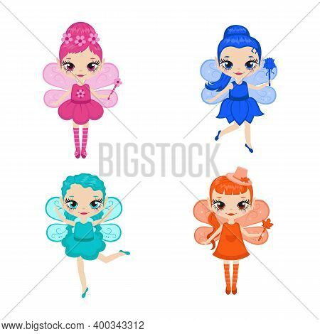 Set Of Cartoon Fairies Characters. Fairy Creatures With Sparkly Wings. Fairies In Four Colors - Pink