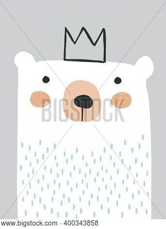 Cute Polar Bear Isolated On A Light Gray Background. Sweet Nursery Art With White Bear. King Bear Ve