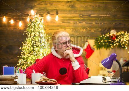 New Year. Santa Man. Santa Claus On Christmas Background. Santa Costume. Christmas Gift. Santa Claus