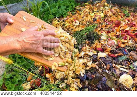 Composting At Home Concept - Senior Woman Emptying Food Waste And Vegetable Leftovers Into Garden Co