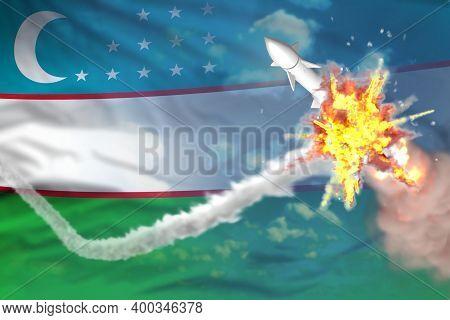 Uzbekistan Intercepted Ballistic Missile, Modern Antirocket Destroys Enemy Missile Concept, Military